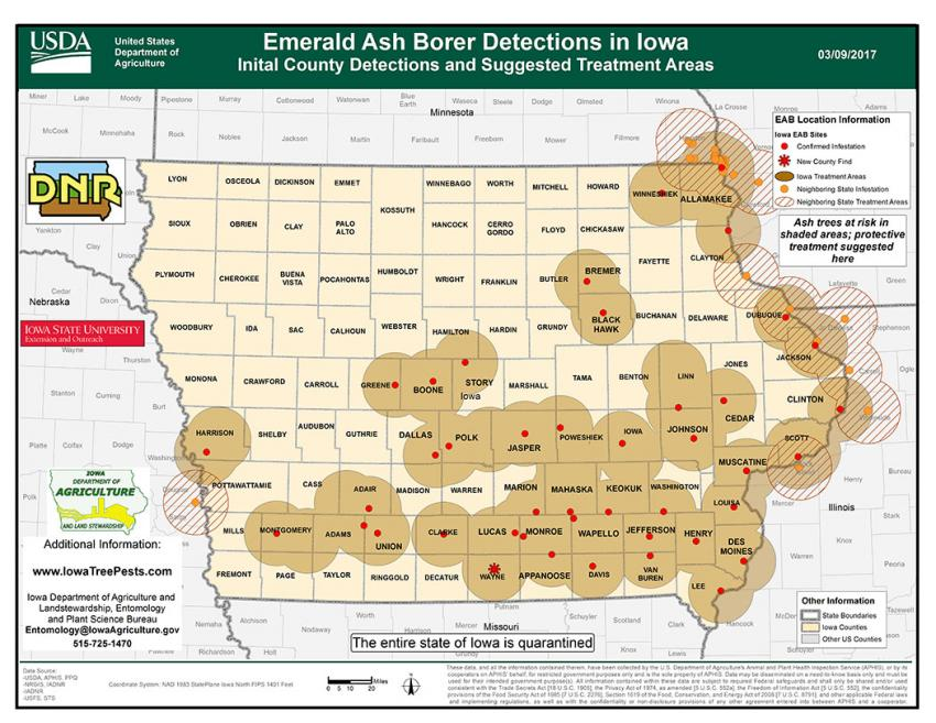 Map of Iowa showing current distribution of confirmed EAB infestations as of March 9, 2017.