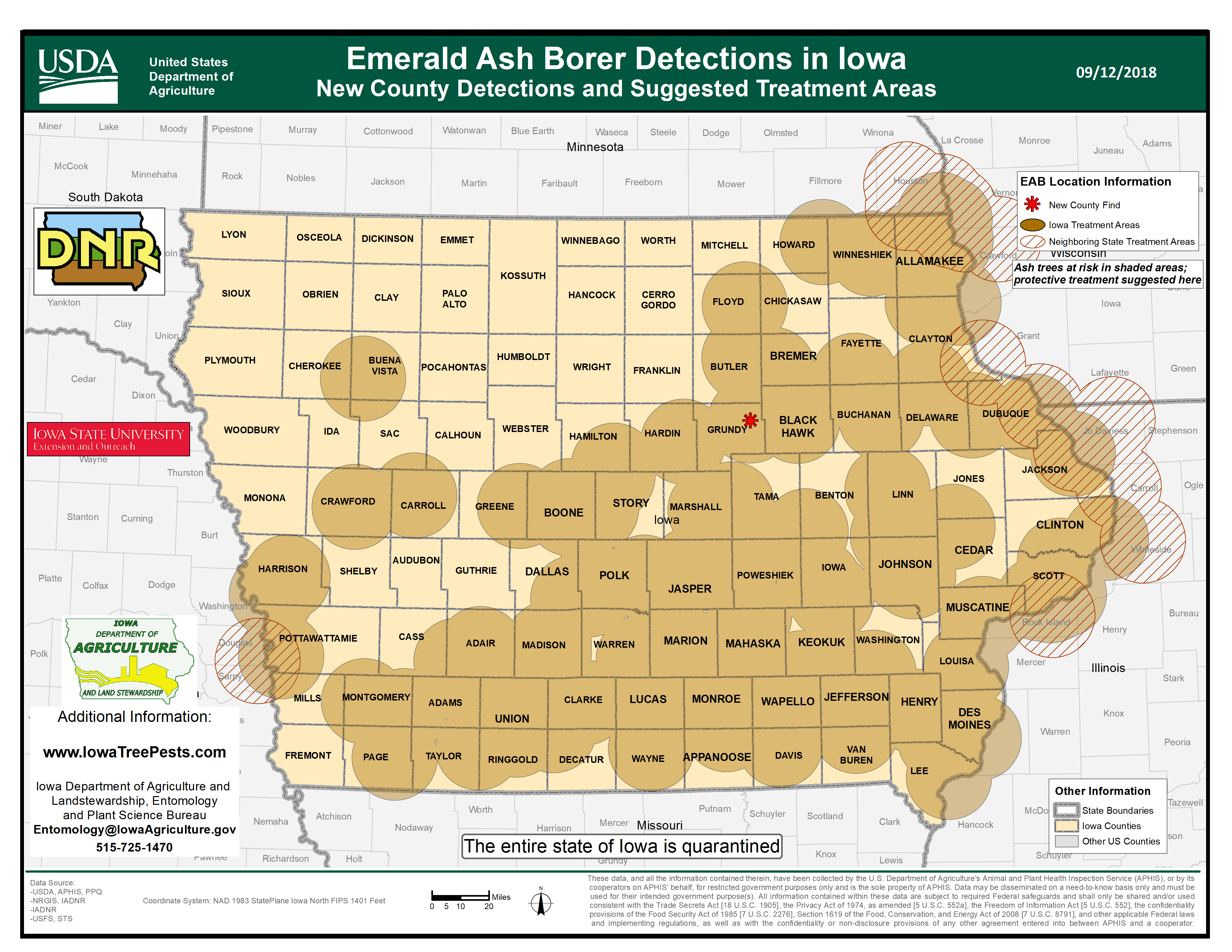 Map of Iowa showing current distribution of confirmed EAB infestations as of September 13, 2018.