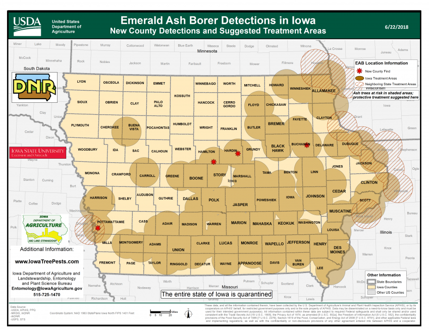 Map of Iowa showing current distribution of confirmed EAB infestations as of June 22, 2017.