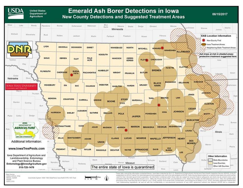 Map showing emerald ash borer distribution in Iowa