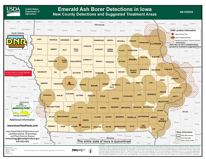Map of Iowa showing current distribution of confirmed EAB infestations as of April 10, 2018.