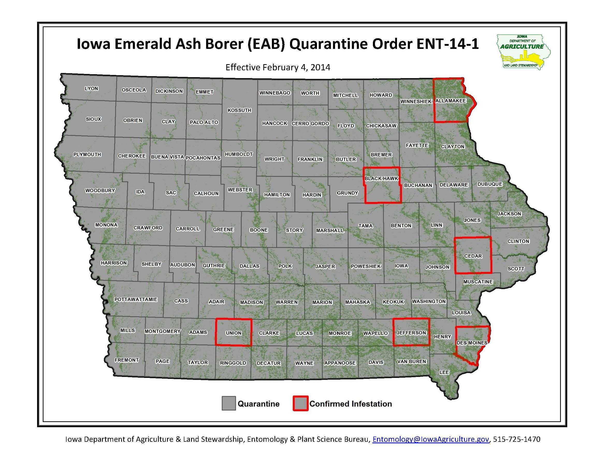 Iowa statewide quarantine established for emerald ash for Bureau quarantine