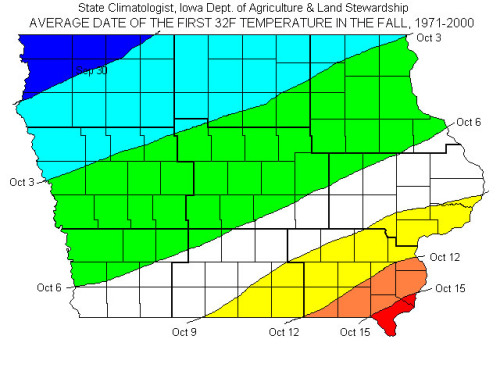 Date of First Freeze in Iowa