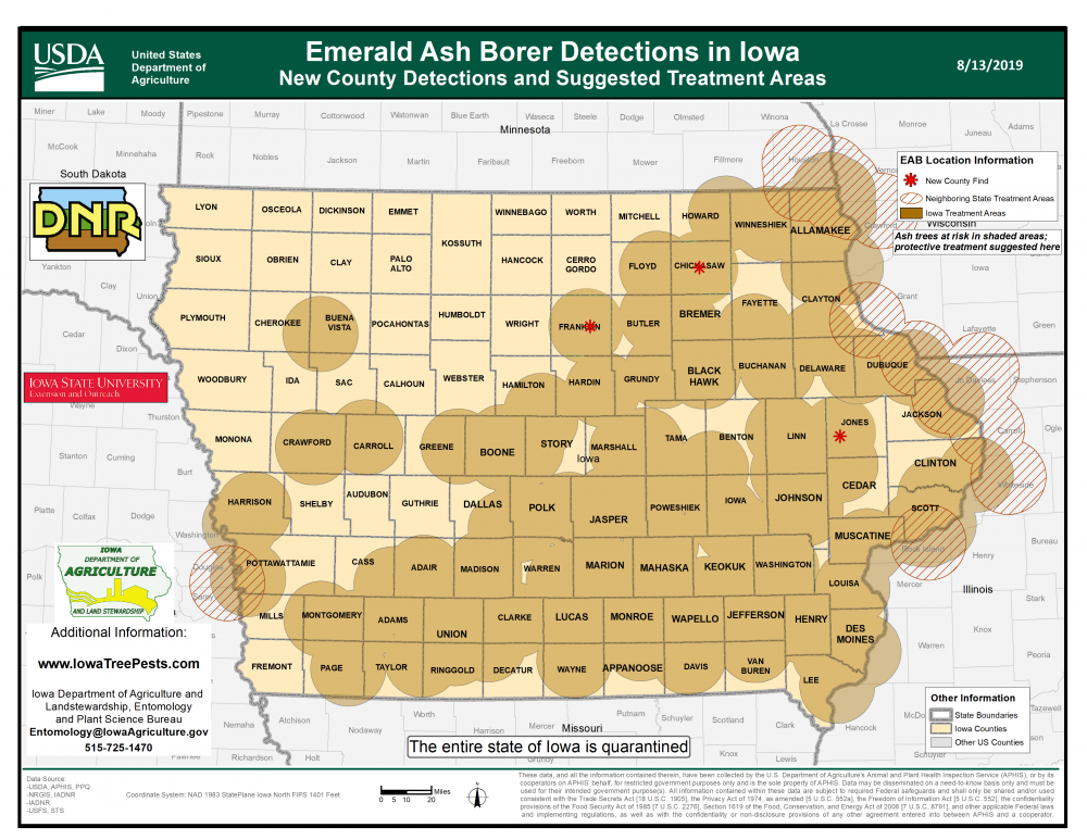 Map of Iowa showing current distribution of confirmed EAB infestations as of April 13, 2018.