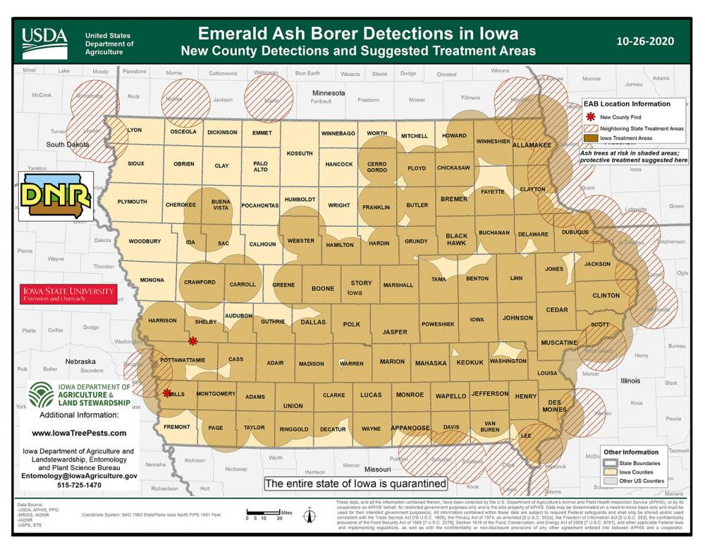 Map of Iowa showing current distribution of confirmed EAB infestations as of October 21, 2020