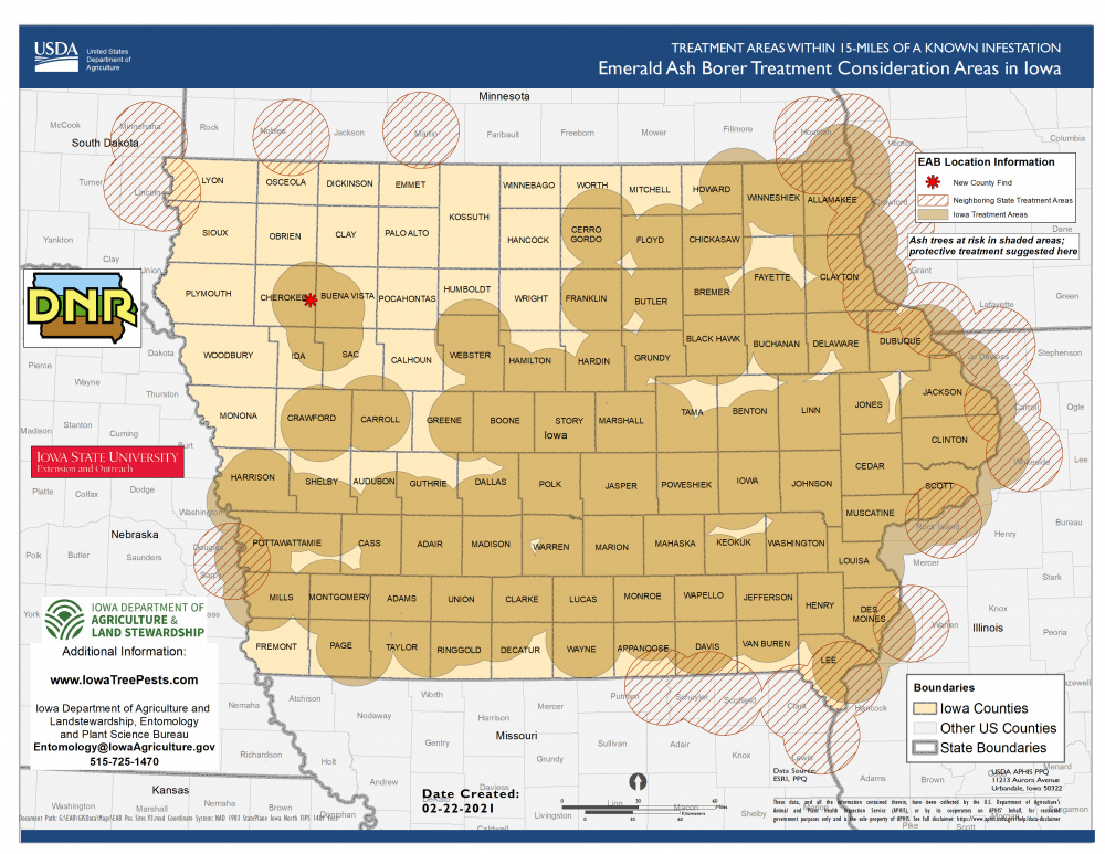Map of Iowa showing current distribution of confirmed EAB infestations as of February 23, 2021