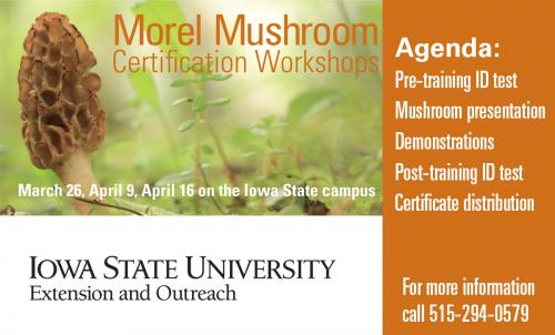 Morel Certification Workshop, March 26, April 9, and April 16