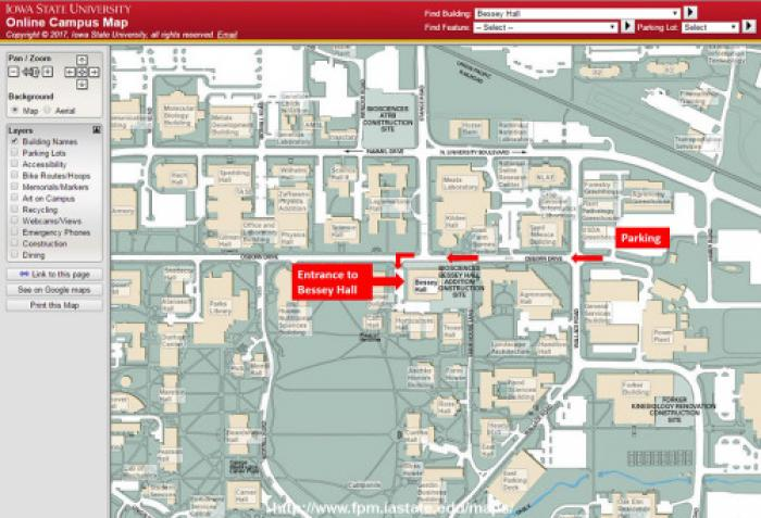 ISU Campus Map Showing Morel Workshop Parking and Building Location